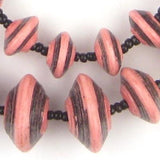 Pink & Black Recycled Paper Beads (Large)