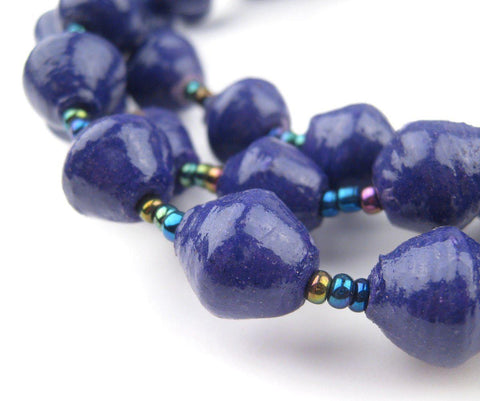 Image of Royal Purple Recycled Paper Beads from Uganda - The Bead Chest