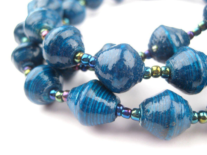 Teal Recycled Paper Beads from Uganda - The Bead Chest