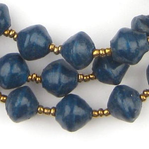 Dark Teal Recycled Paper Beads from Uganda - The Bead Chest