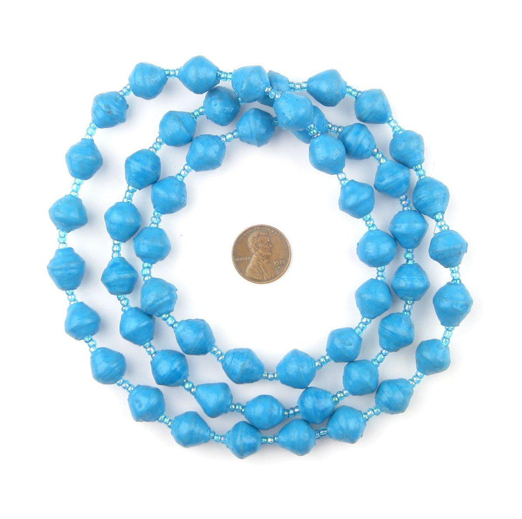 Turquoise Recycled Paper Beads from Uganda - The Bead Chest