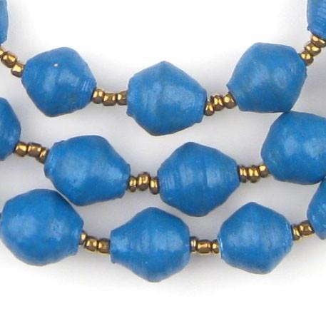 Dark Blue Recycled Paper Beads from Uganda - The Bead Chest