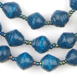 Teal Recycled Paper Beads from Uganda