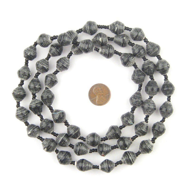 Rustic Black Recycled Paper Beads from Uganda - The Bead Chest