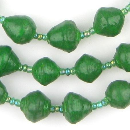 Dark Green Recycled Paper Beads from Uganda - The Bead Chest