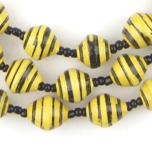Bumblebee Yellow Recycled Paper Beads from Uganda - The Bead Chest