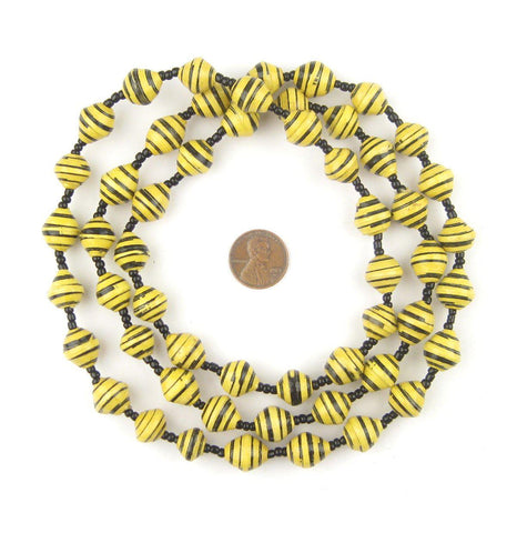 Image of Bumblebee Yellow Recycled Paper Beads from Uganda - The Bead Chest