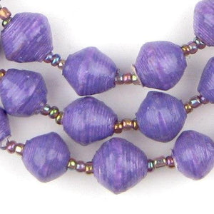 Purple Recycled Paper Beads from Uganda - The Bead Chest