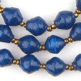 Dark Cobalt Blue Recycled Paper Beads from Uganda