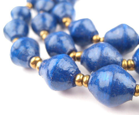 Dark Cobalt Blue Recycled Paper Beads from Uganda - The Bead Chest