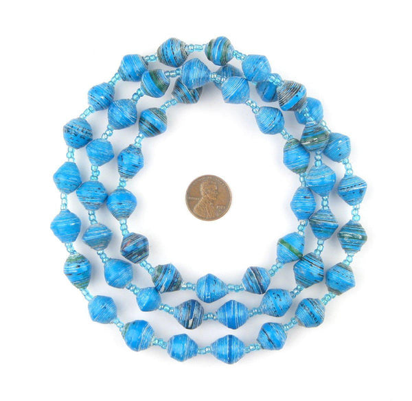 Turquoise and White Recycled Paper Beads from Uganda