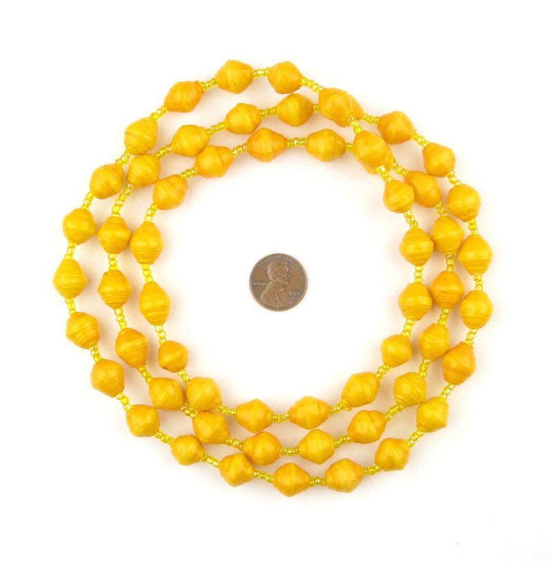 Sunshine Yellow Recycled Paper Beads from Uganda - The Bead Chest
