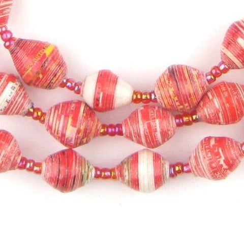 Red and White Recycled Paper Beads from Uganda - The Bead Chest