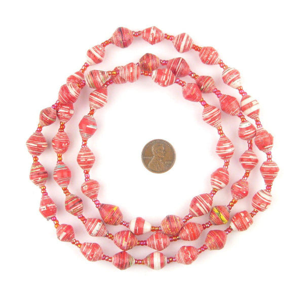Red and White Recycled Paper Beads from Uganda