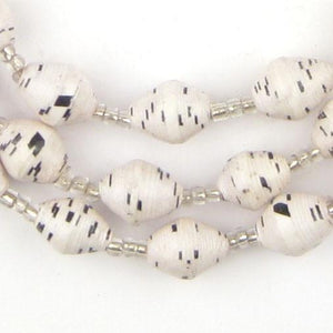 Speckled White Recycled Paper Beads from Uganda - The Bead Chest