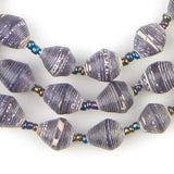 Purple and White Recycled Paper Beads from Uganda