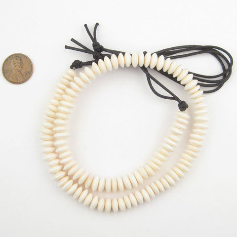 Saucer White Bone Beads (9mm) - The Bead Chest