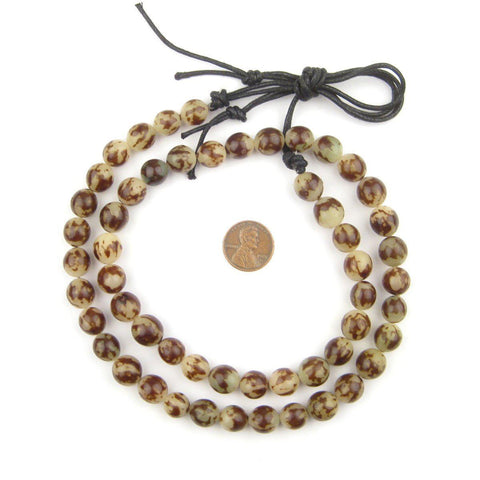 Brown & White Splotch Natural Seed Beads (12mm) - The Bead Chest