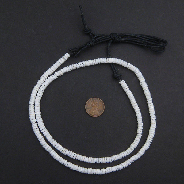 Matte White Natural Shell Heishi Beads (5mm)