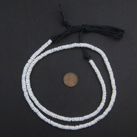 Matte White Natural Shell Heishi Beads (5mm) - The Bead Chest