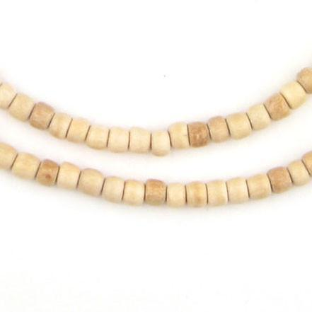 Beige Cylindrical Wood Beads (5mm) - The Bead Chest