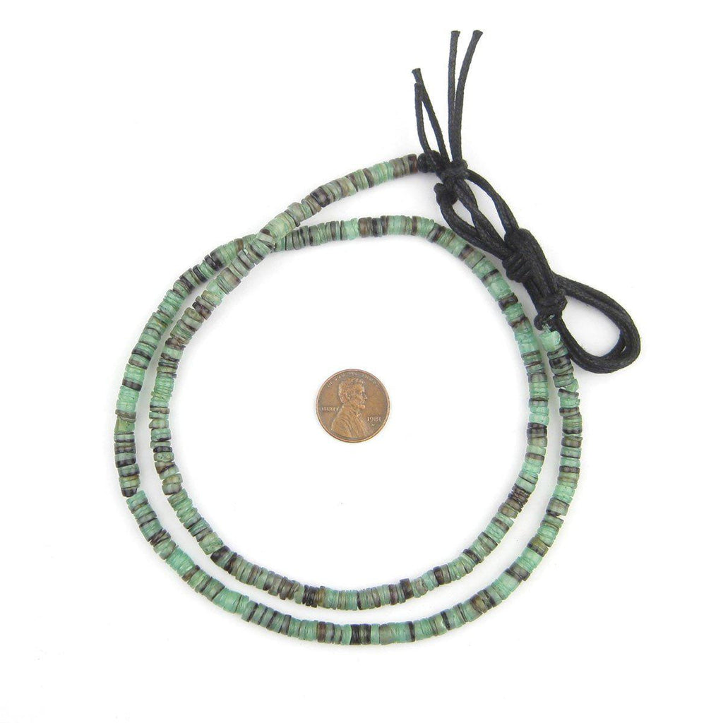 Fern Green Natural Shell Heishi Beads (5mm) - The Bead Chest