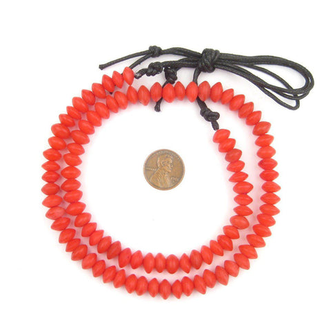 Red Natural Saucer Seed Beads (8mm) - The Bead Chest
