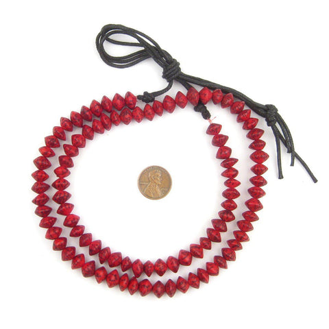 Coral Red Natural Saucer Seed Beads (10mm) - The Bead Chest