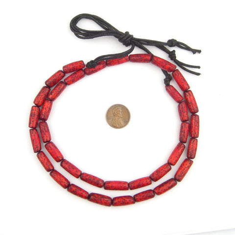 Coral Red Cylindrical Natural Seed Beads - The Bead Chest