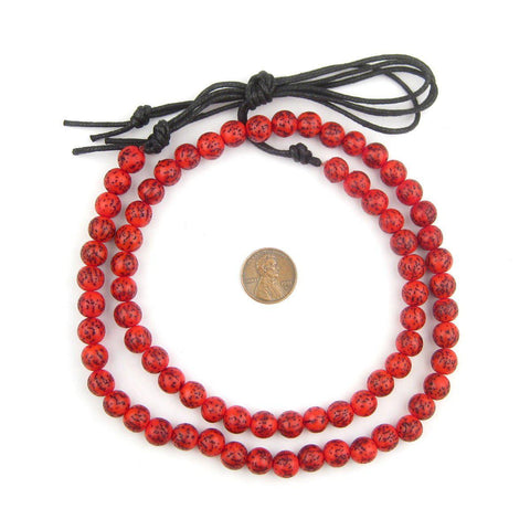 Coral Red Natural Round Seed Beads (10mm) - The Bead Chest