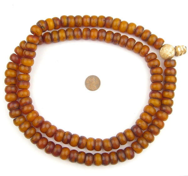 Tibetan Vintage-Style Amber Resin Prayer Beads (15mm)