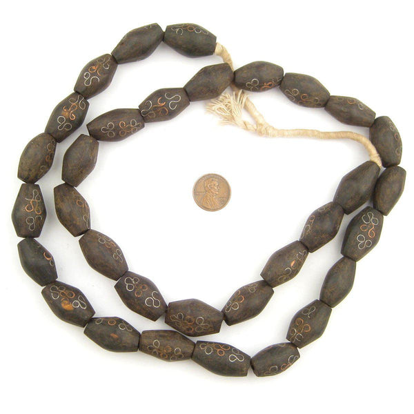 Mauritanian Inlaid Ebony Wood Bicone Beads (26x15mm)