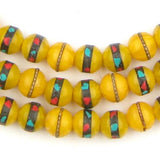 Inlaid Resin Prayer Beads - Long Strand (10mm)