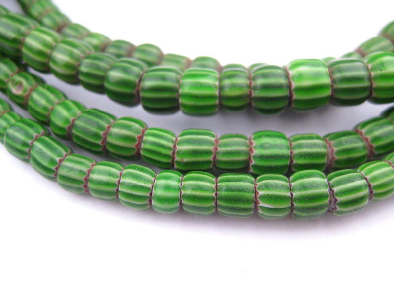 Small Watermelon Green Chevron Beads - The Bead Chest