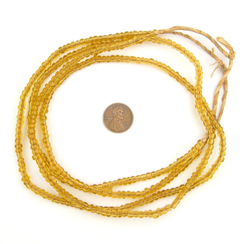 Clear Amber Ghana Glass Beads (2 Strands) - The Bead Chest