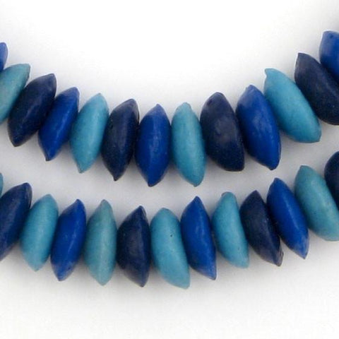Image of Blue Medley Ashanti Glass Saucer Beads - The Bead Chest