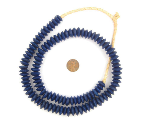 Image of Cobalt Blue Ashanti Glass Saucer Beads - The Bead Chest