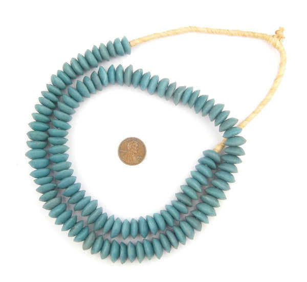 Light Blue Ashanti Glass Saucer Beads