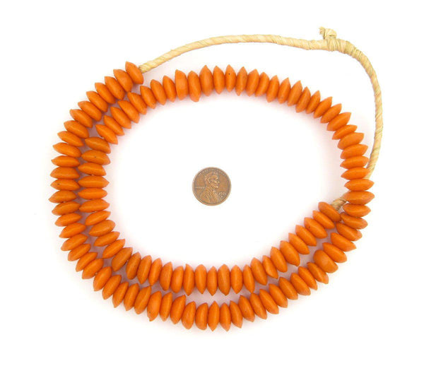 Tangerine Orange Ashanti Glass Saucer Beads