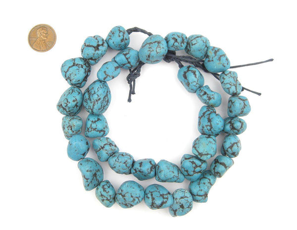 Aqua Blue Moroccan Pottery Beads (Nugget) - The Bead Chest