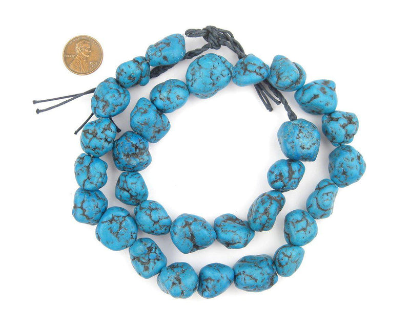 Bright Aqua Moroccan Pottery Beads (Nugget) - The Bead Chest