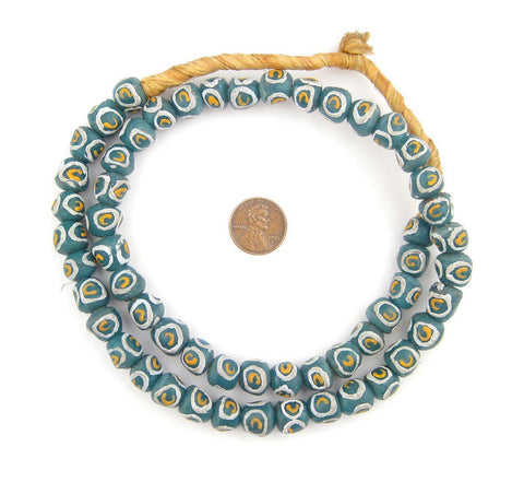 Teal Eye Round Krobo Beads - The Bead Chest