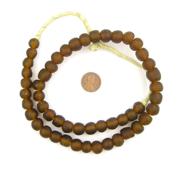 Root Beer Brown Recycled Glass Beads (11mm)