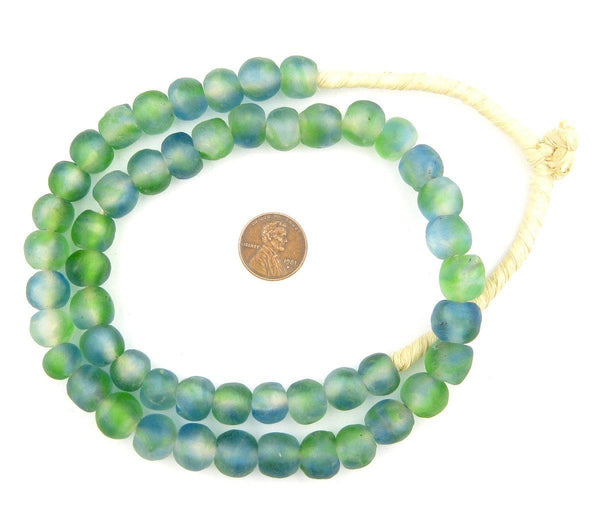 Light Blue Green Swirl Recycled Glass Beads (11mm)