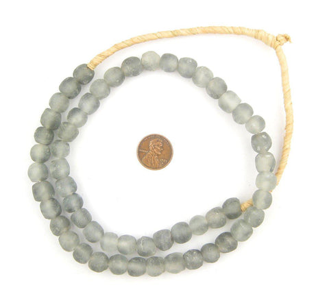 Image of Grey Mist Recycled Glass Beads (11mm) - The Bead Chest