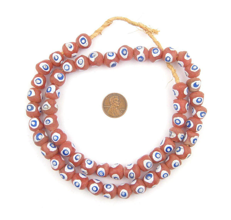 Rose Pink Round Krobo Eye Beads - The Bead Chest