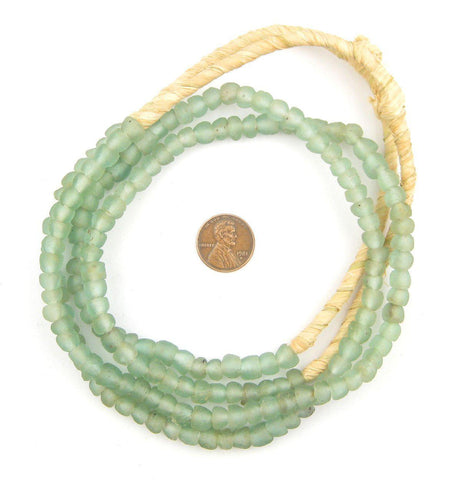 Green Aqua Recycled Glass Beads (7mm) - The Bead Chest