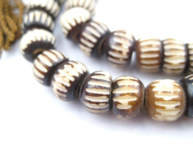Vintage-Style Carved Chevron Bone Prayer Beads (8mm) - The Bead Chest