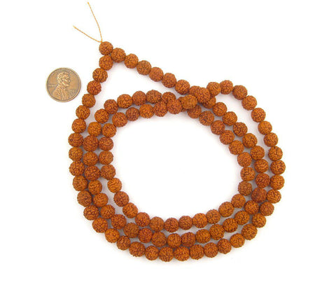 Rudraksha Natural Seed Prayer Beads (8mm) - The Bead Chest
