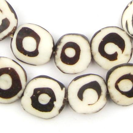 Eye Design Batik Bone Beads (Circular) - The Bead Chest
